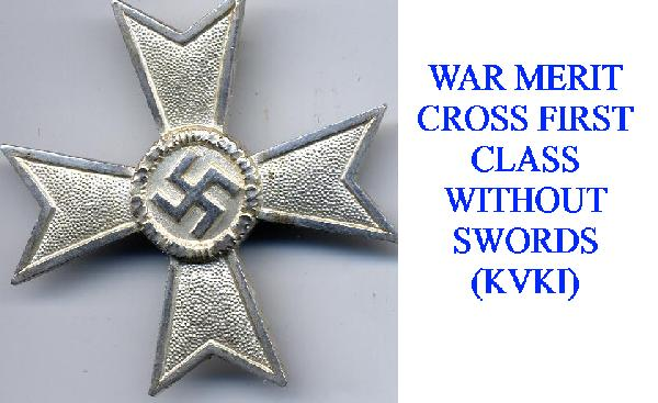 WAR MERIT CROSS 1st CLASS WITHOUT SWORDS