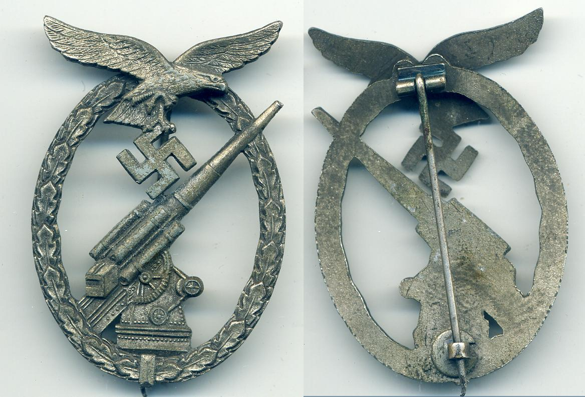 Souval Luftwaffe Zinc Flak Badge   at WWW.Thirdreichmedals.com