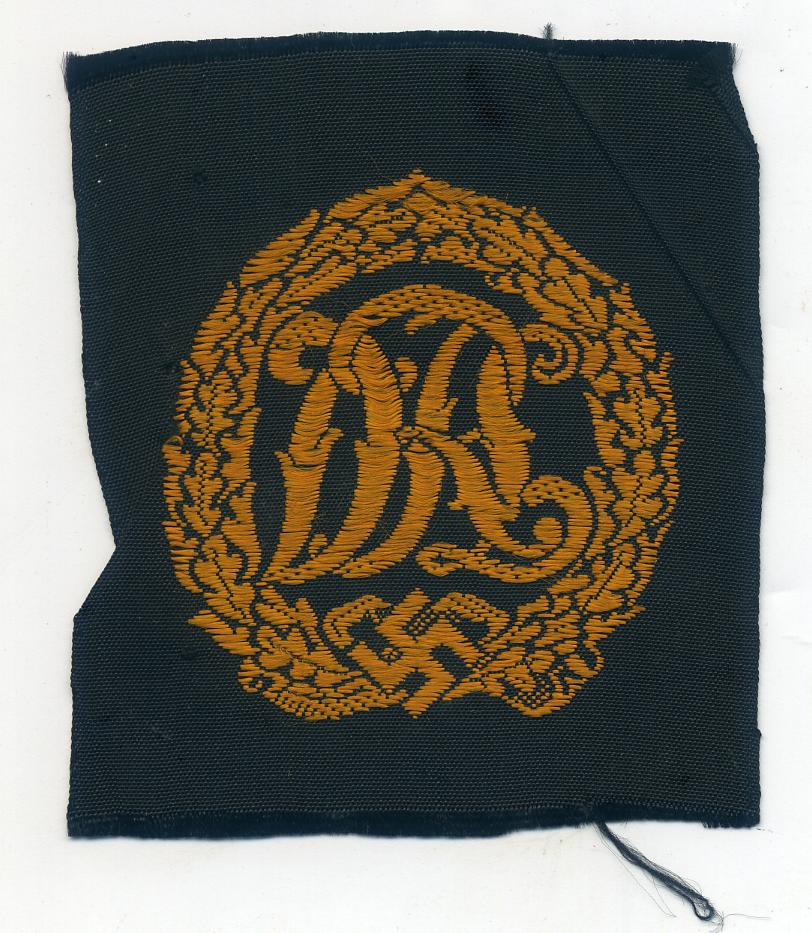 A Black and Bronze woven D.R.L Sports Badge at WWW.Thirdreichmedals.com