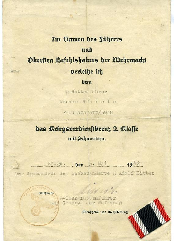 German Rare signed Document at WWW.Thirdreichmedals.com