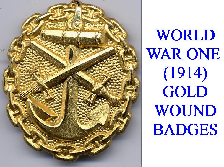 GOLD WOUND BADGE FOR WWI