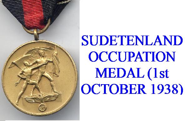 GERMAN OCCUPATION OF SUDENTLAND AWARD