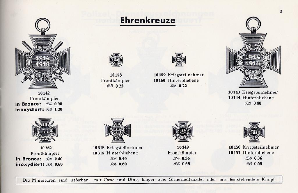 Catalogue page showing the range of Crosses of Honour