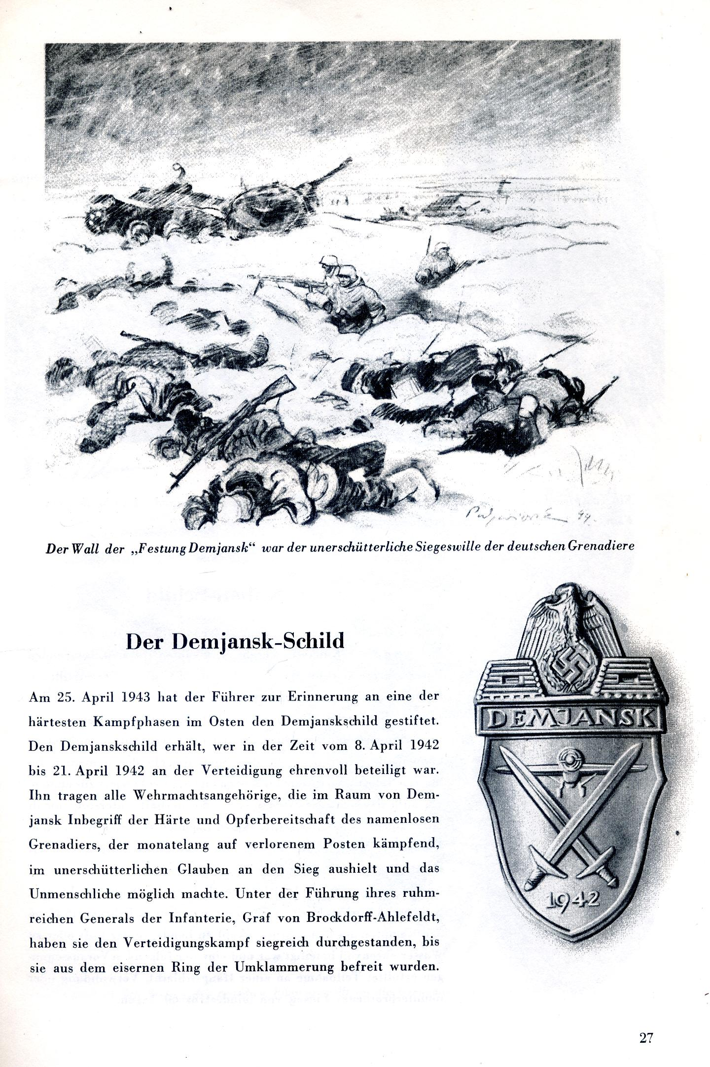 DEMJANSK ARMSHIELD ORIGINAL PERIOD ARTICLE