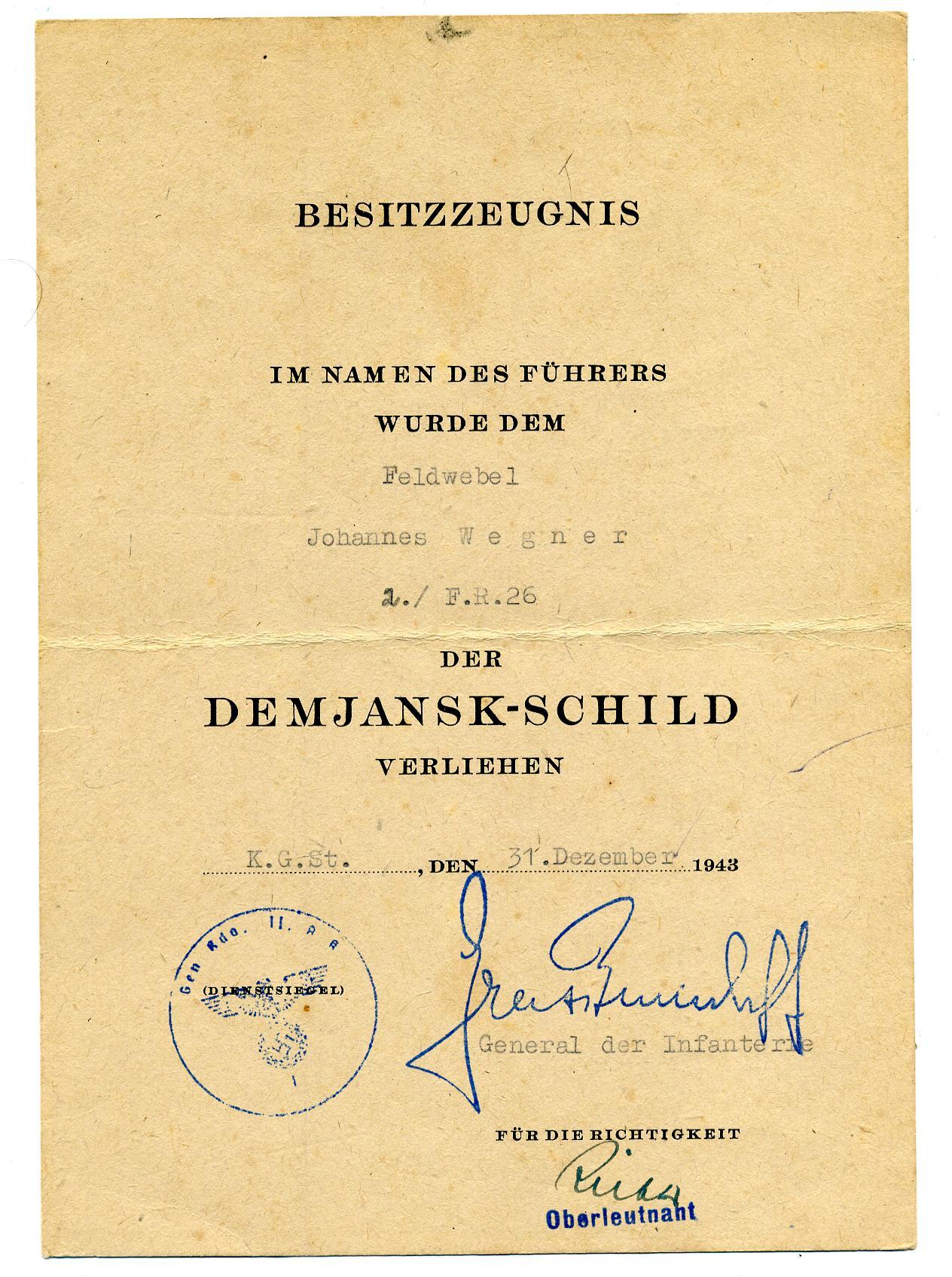 Demjansk award Document.