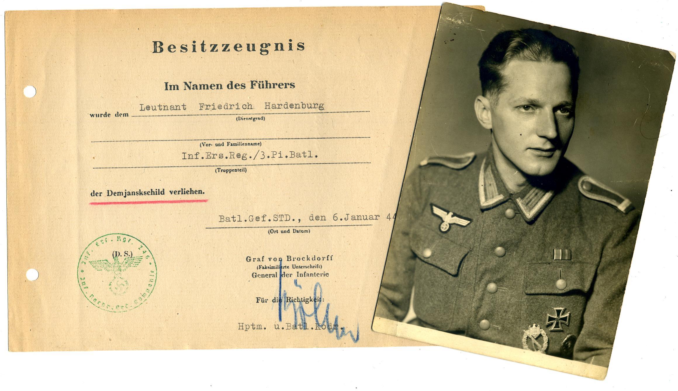 Demjansk award Document and Picture of Leutnant Friedrich Hardenberg.