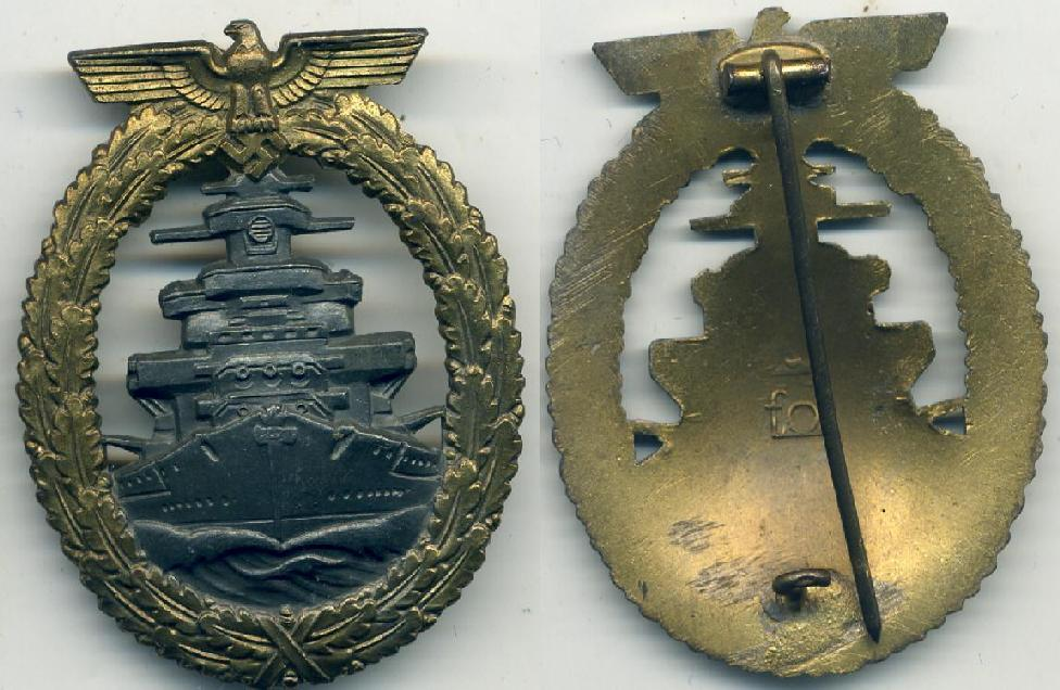 A GERMAN THIRD REICH HIGH SEAS FLEET WAR BADGE BY FO