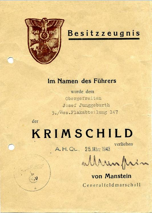 KRIM ARMSHIELD ORIGINAL AWARD DOCUMENT