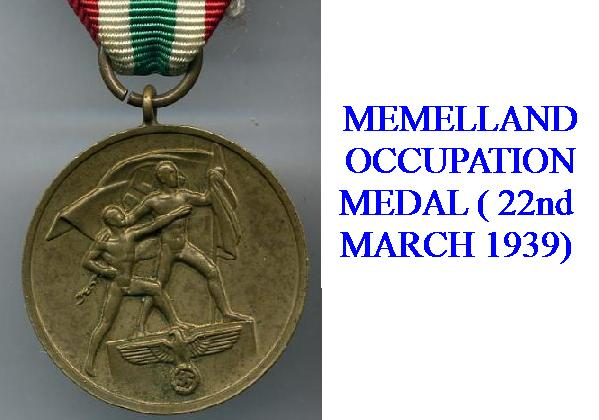 GERMAN OCCUPATION OF MEMELLAND AWARD