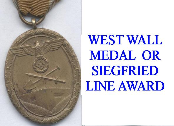 WEST WALL MEDALS