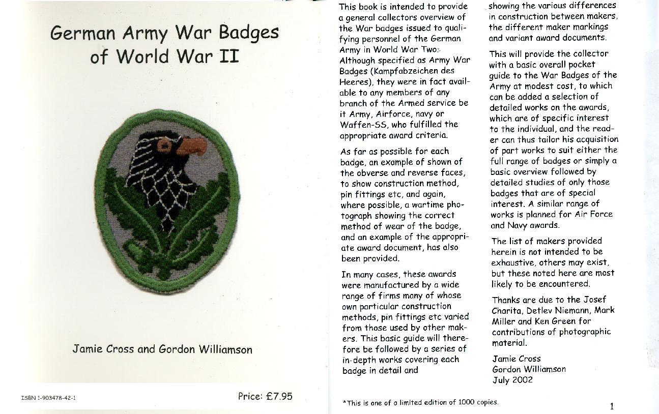 (A619) German Army War Badges of World War II, By Jamie Cross & Gordon Williamson