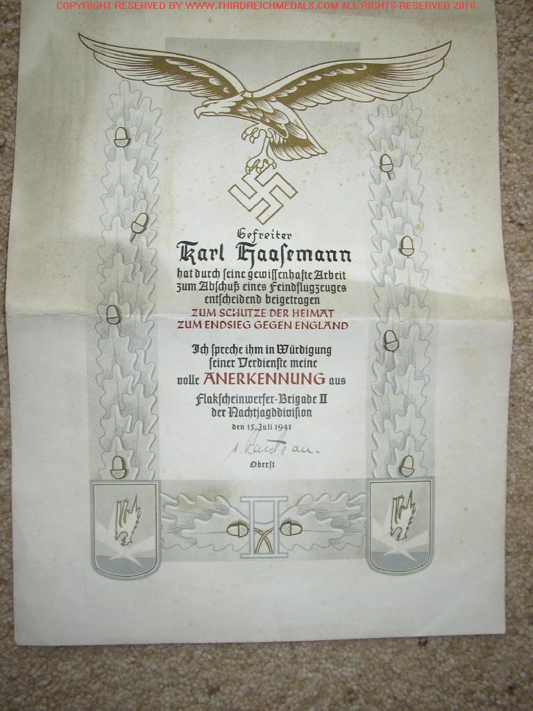 GERMAN MILITARY AWARD DOCUMENTS